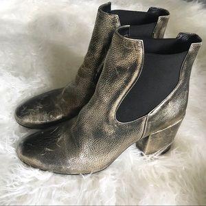 Mivida gold metallic chunky heel ankle boots